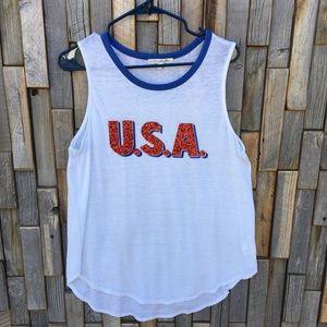 Woman's Express Sequin USA top shirt blouse large